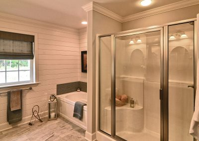 decorative walls with tub and shower