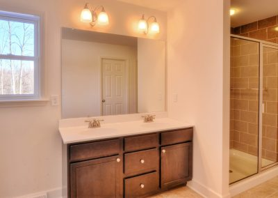 double vanity with tiled shower