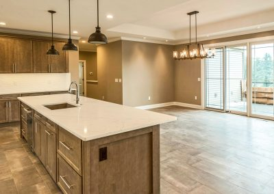 open plan custom kitchen and dining area