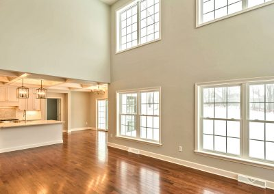 two story family room overlooking kitchen