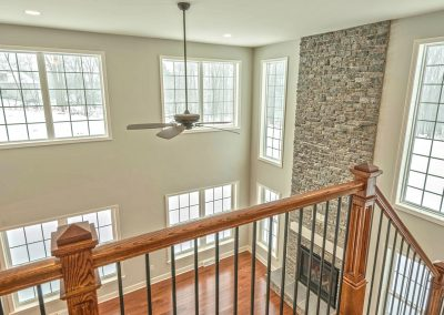 looking down on two story family room