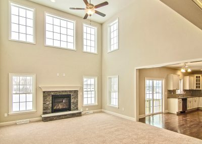 carpeted two story family room