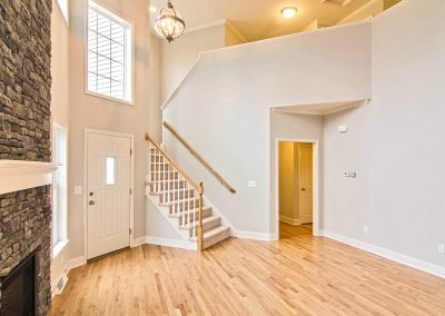 two story family room in townhome