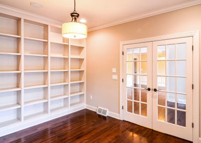 custom built in study shelving