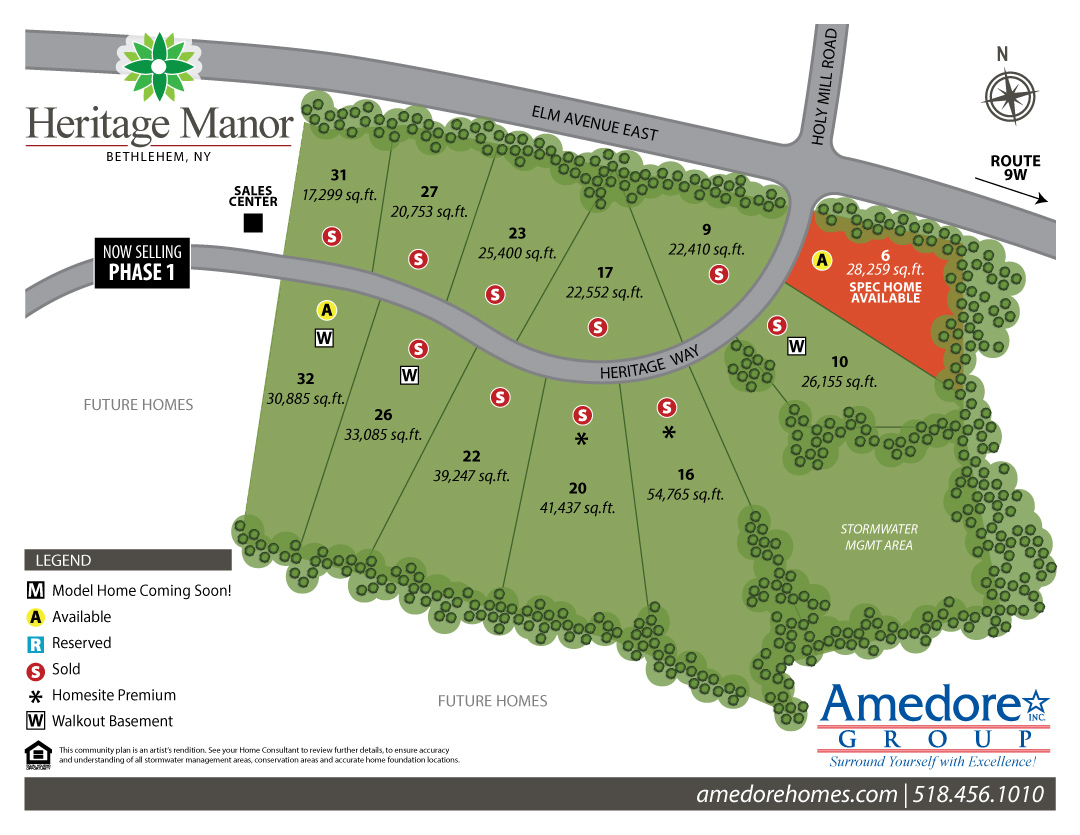 site map of single family home sites at heritage manor in the town of bethlehem new york